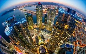 light, lights, river, bridge, skyscrapers, south korea, haeundae