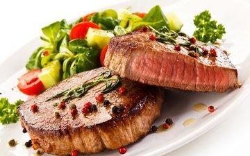 зелень, овощи, мясо, помидор, салат, пряности, бифштекс