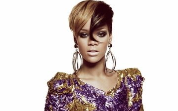 girl, look, face, white background, singer, makeup, hairstyle, earrings, rihanna, celebrity