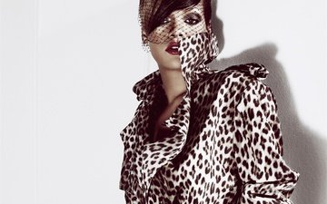 style, girl, look, face, singer, makeup, rihanna, photoshoot, veil, elle