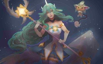 staff, green hair, artwork, league of legends, soraka is