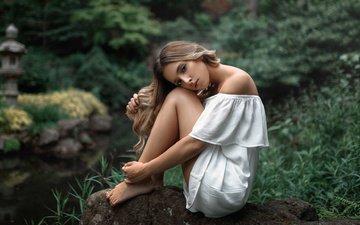 nature, girl, dress, look, stone, shoulders, long hair, rus, barefoot, sergei fedorov