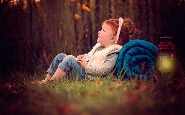 nature, forest, leaves, autumn, joy, red, girl, lantern, child, ellen tolman, sue ellen tolman