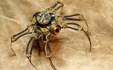 background, robot, spider, steampunk