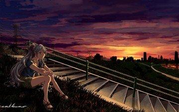 лестница, закат, девушка, вокалоид, shingeki no kyojin, хацунэ мику, асада шино
