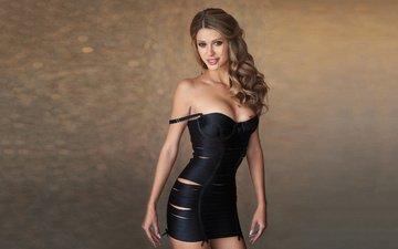 девушка, платье, модель, грудь, локоны, плечо, шатенка, декольте, шон арчер