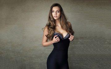 девушка, брюнетка, модель, грудь, черное платье, декольте, шон арчер