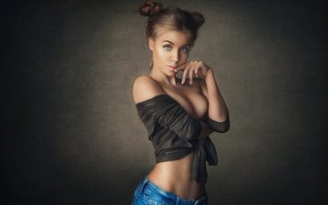 девушка, поза, взгляд, модель, фигура, тело, белье, декольте, шон арчер