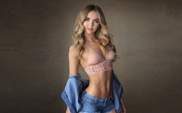 girl, blonde, look, model, shirt, bra, shorts, dzhinsovka, sean archer