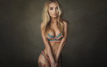 girl, blonde, look, underwear, tummy, simple background, sean archer, katya kotaro
