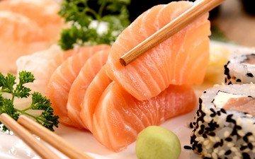 рыба, суши, морепродукты, японская кухня
