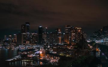 ночь, огни, город, небоскребы, сидней, австралия