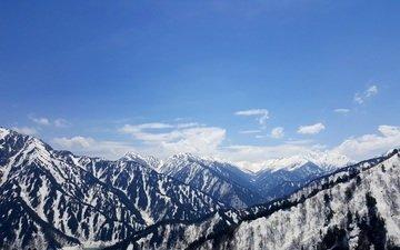 небо, облака, горы, снег, природа, пейзаж, япония, kurobe dam