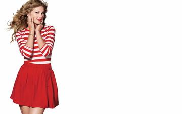 девушка, взгляд, юбка, волосы, лицо, белый фон, певица, красные губы, тейлор свифт