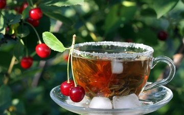 листья, напиток, ягода, лёд, вишня, чашка, чай