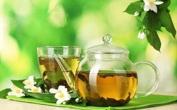 цветы, напиток, чай, чайник, жасмин