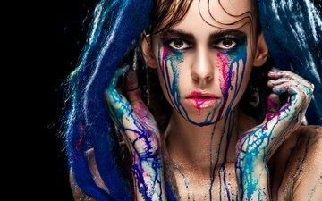 девушка, портрет, взгляд, краска, модель, креатив, лицо, дреды, руки, макияж, слезы