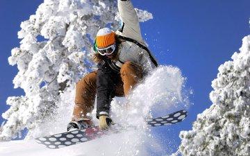 небо, снег, девушка, сноуборд, спорт