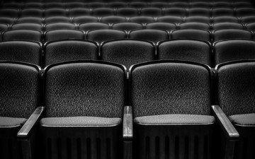 black and white, theatre, chairs