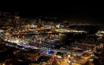 ночь, огни, корабли, город, монако, монте-карло