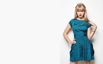 девушка, блондинка, музыка, взгляд, волосы, лицо, певица, тейлор свифт, синее платье