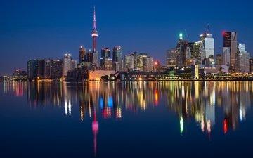 отражение, небоскребы, канада, торонто, городской пейзаж