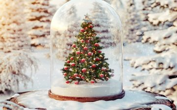 snow, tree, new year, winter, balls, holidays, christmas, stump
