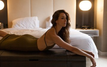 girl, brunette, actress, bed, celebrity, troian bellisario