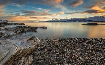 небо, облака, скалы, камни, утро, горизонт, побережье, норвегия, тромс, oldervik
