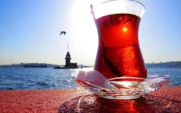 the sky, nature, drink, sea, turkey, tea, maiden tower