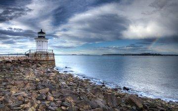 небо, облака, камни, море, маяк, побережье, сша, орегон, портленд