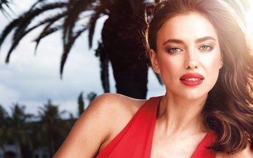 girl, portrait, look, model, hair, face, red lips, irina shayk