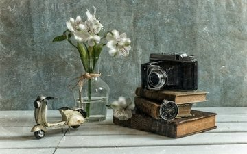 flowers, books, the camera, bouquet, vase, camera, compass, scooter, model