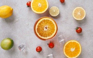 фрукты, апельсины, лёд, лимон, ломтики, лайм, овощи, помидоры, цитрусы