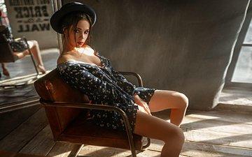 девушка, поза, взгляд, модель, ножки, лицо, шляпа, декольте, георгий чернядьев, venera
