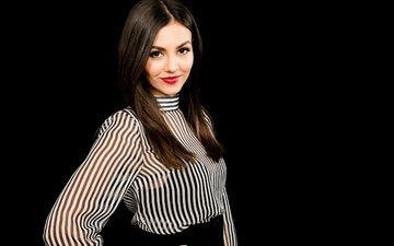 girl, smile, look, hair, black background, face, actress, victoria justice