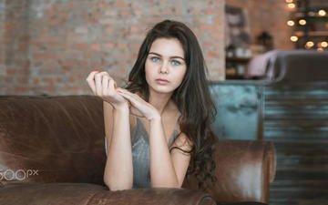 девушка, взгляд, модель, волосы, лицо, руки, виктория, дарья клепикова