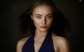 girl, portrait, look, model, hair, lips, face, victoria, bare shoulders, dmitry arhar