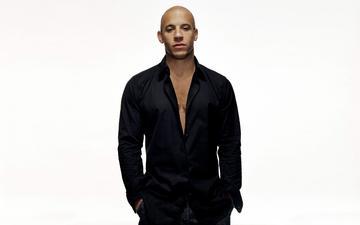 look, actor, face, white background, shirt, vin diesel