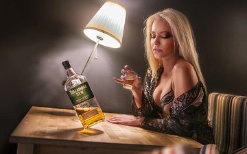 girl, blonde, lamp, table, chair, makeup, bottle, bra, negligee, whiskey, stack, vita vecera