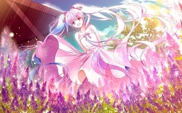 вокалоид, цветы, улыбается, в платье, мику хацунэ