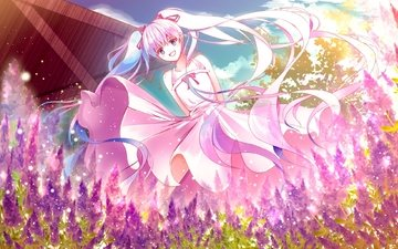 vocaloid, flowers, smiling, dress, hatsune miku