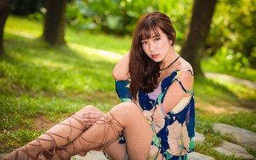 девушка, лето, взгляд, ножки, волосы, лицо, азиатка, длинные волосы