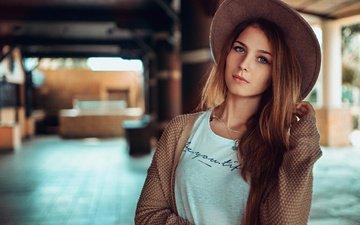 girl, look, model, face, jacket, t-shirt, hat, long hair, rus, stephanos georgiou, valery gorbatov