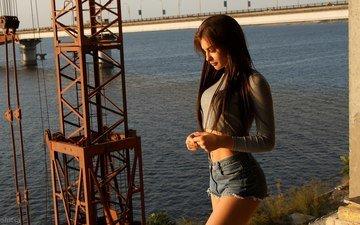 girl, profile, face, belly, long hair, navel piercing, denim shorts, anton papalutsa, ruslana stich
