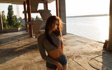 girl, look, model, face, the wind, belly, long hair, denim shorts, anton papalutsa, ruslana stich