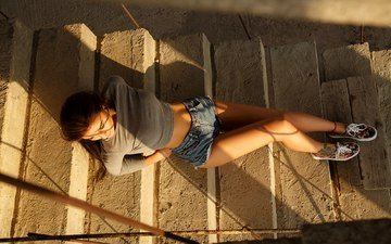 ladder, girl, the view from the top, hair, face, tattoo, denim shorts, anton papalutsa, ruslana stich