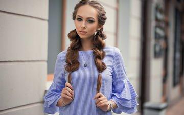 girl, dress, portrait, look, model, face, makeup, hairstyle, maria, brown hair, braids, dmitry sn
