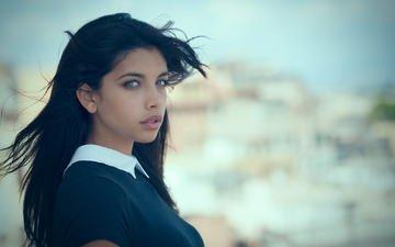 girl, portrait, brunette, look, model, hair, face, the wind