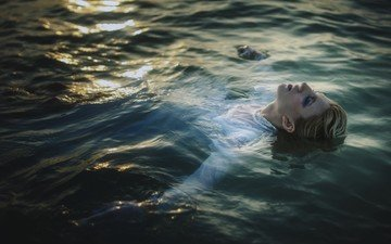 water, girl, sea, hair, face, makeup, swimming, sunlight, closed eyes